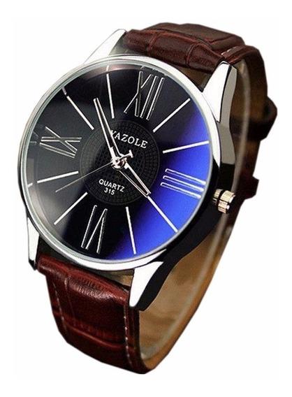 Relógio Masculino Yazole 315 Unique Marrom Azulado