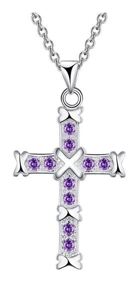 Colar Banhado A Prata Crucifixo Com Zircônias Clb 2