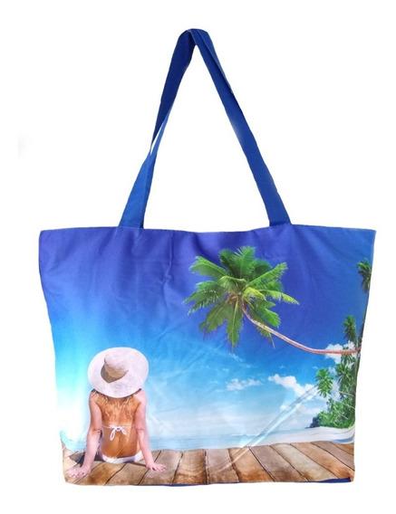 Bolsa Em Lona Estampa Praia Verão Sacola Feminina Alça Dupla
