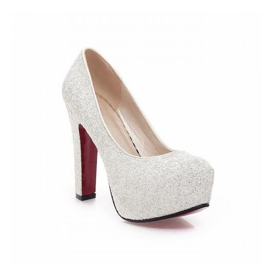 Sapato Feminino Plataforma Salto Grosso Alto Brilho Bomba