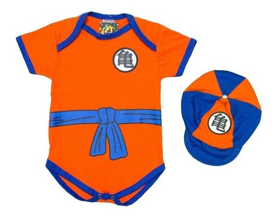 Body Com Boné Goku Dragon Ball Z Infantil - Roupas Pra Bebês