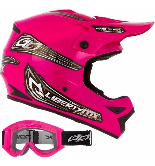 Capacete Mulher Moto Mx Pro Feminino Rosa Motocross Trilha