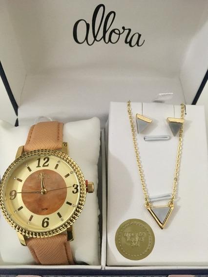 Kit Relógio Allora Com Semi-joias Banhadas A Ouro 24k