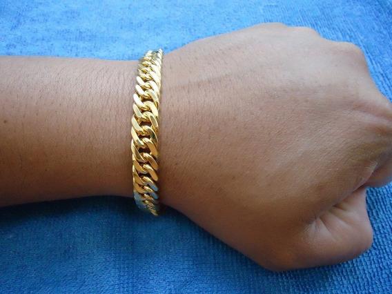Pulseira De Ouro 18k Groumet Larga De 1 Centímetro Com 20cm