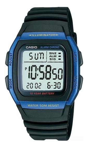 Relógio Casio Masculino Azul Bateria 10anos Original W96