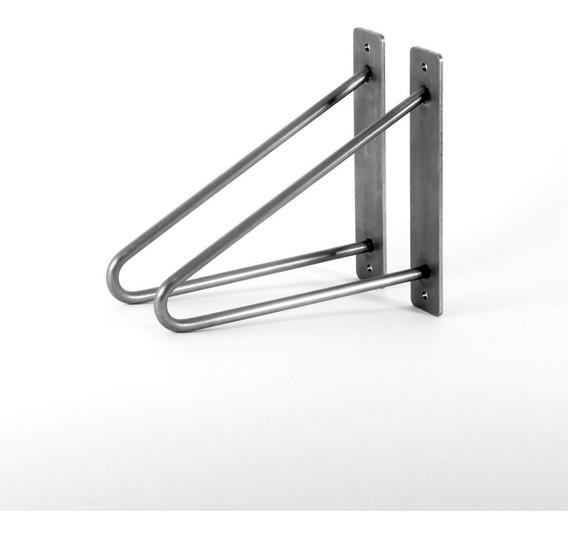 Mensula De Hierro Hairpin Para Estantes 30cm