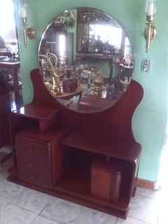 Tocador Art Deco Antiguo En Cedro Negro Y Espejo
