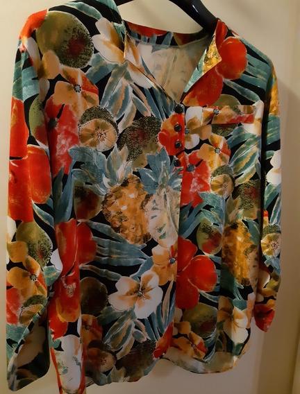 Blusa Camisa Camisola Floreada - Made In Italy