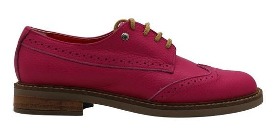 Zapatos Mujer Acordonados Clasicos Bajos Fucsia Leblu 861