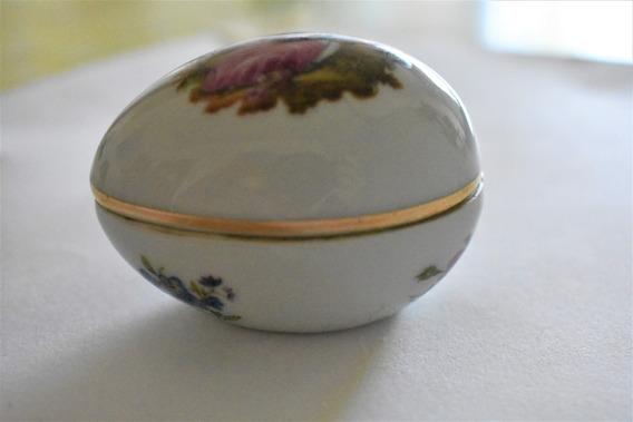 Cajita En Forma De Huevo De Porcelana Limoges Castel France