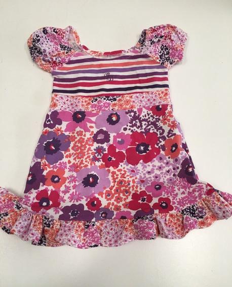 Vestido De Algodón Floreado G De B 12 Meses Para Nena