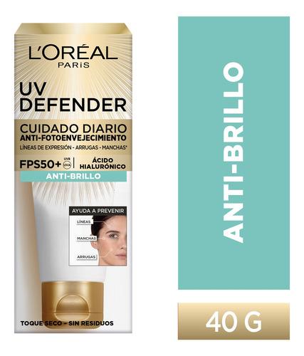 Imagen 1 de 10 de Crema Anti Brillo Sin Color Fps50 L'oréal Paris Uv Defender