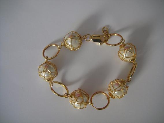 Bisuteria Fina Pulseras De Perlas En Baño De Oro