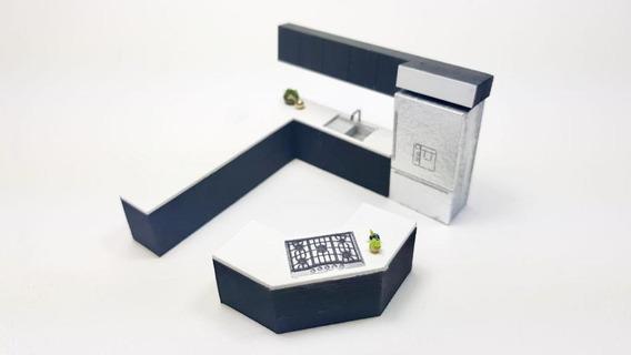 Muebles Para Maquetas Cocina/ Isla 3.5 X 3.5 M Escala 1:50