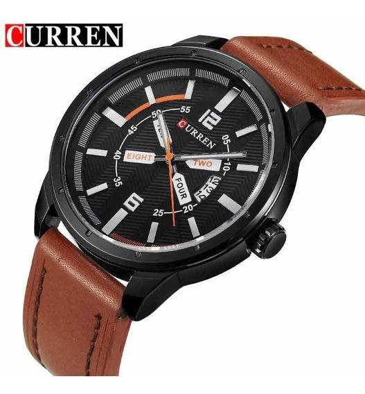 Relógio Curren 8211 Analógico Couro Luxo Original Promoção