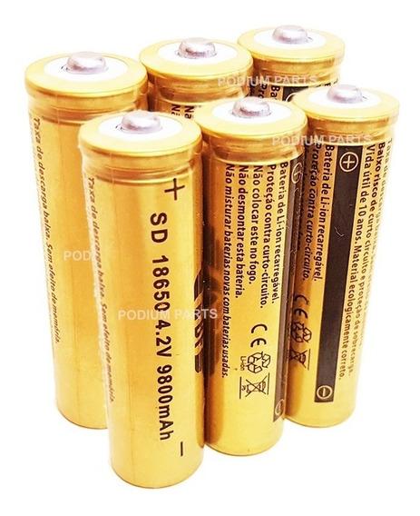 6 Bateria 18650 Gold 9800mah 4,2v Lanterna Led Recarregavel