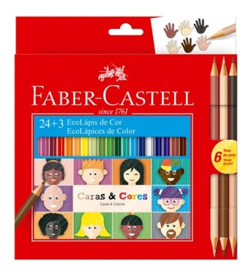 2x Lápis Cor Ecolápis 24 +3 Tons Caras E Cores Faber Castell