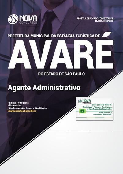 Apostila Prefeitura De Avaré-sp 2018- Agente Administrativo