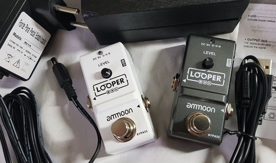 Pedal Efeito Loop Amoon Gravação 10 Minutos + Fonte 9v Top