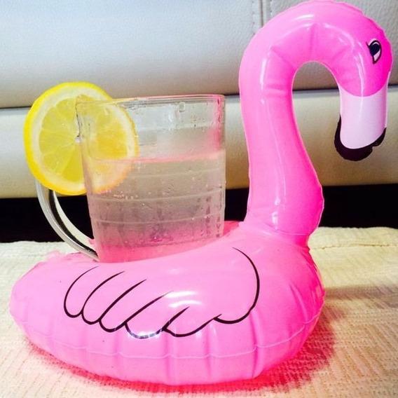 5 Porta Copo Inflável Modelo Flamingo - Boia Flamingo Rosa
