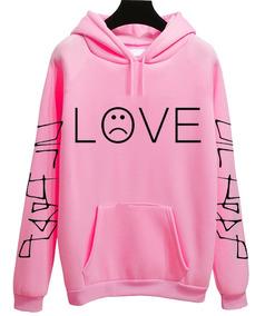 Moletom Rosa Amarelo Lil Peep Frase Sad Boys Love Tumblr Top