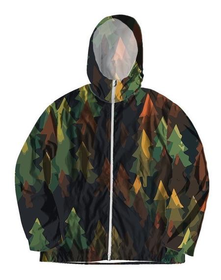 Jaqueta Corta Vento Forrada Com Bolsos Floresta Árvore Pinha