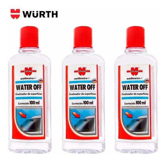 Kit 3 Water Off Wurth Cristalizador Parabrisa Repelente Água