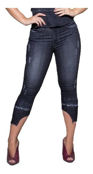 Calça Verbo Jeans Recorte Na Barra Preto
