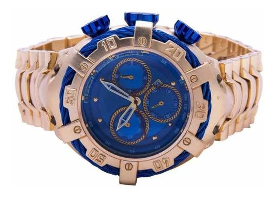 Relógio De Pulso Masculino Dourado Luxo + Brinde