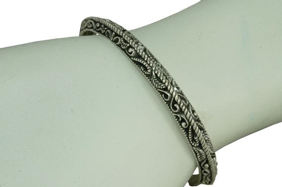 Bracelete Pulseira Trabalhado Bali Unissex (l15,5) Prata 925