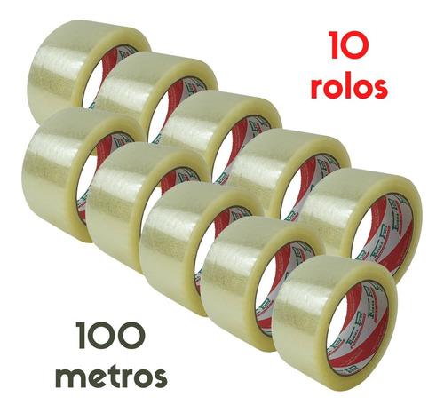Imagem 1 de 6 de Fita Durex 48 X 100m Para Embalagem Transparente 10 Rolos