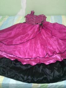 Vestido De 15 Rosa Fiusha/negro Super Descuento (antes 3800)
