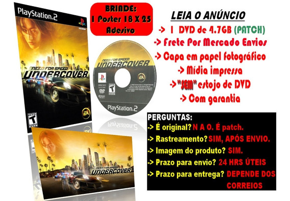 Need For Speed Undercover Para Ps2 + Brinde Poster Adesivo