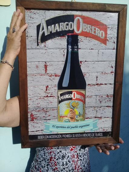 Cartel Amargo Obrero Cuadro Con Marco Y Vidrio 55 Cm Por 40