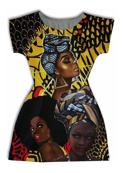 Vestido Adulto Manga Curta Personagens - Afro Brazzaville
