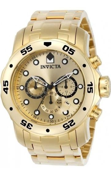 Relógio Invicta Masculino Pro Diver 0074 Banhado A Ouro 18k