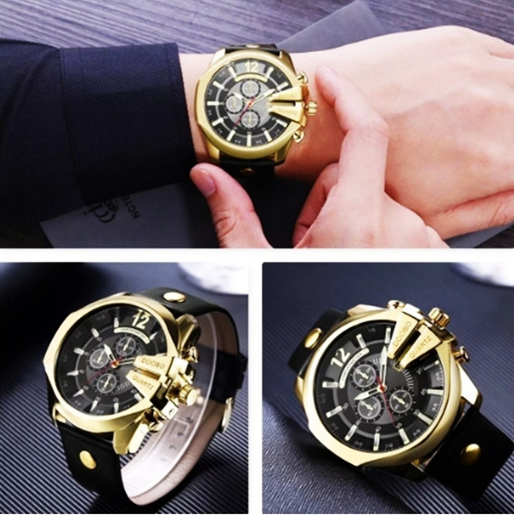 Relógio Masculino Doobo Dourado Com Pulseira Preta