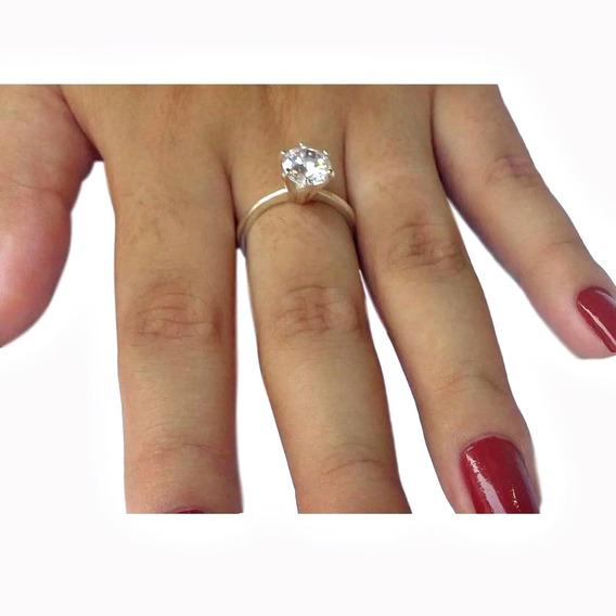 Anel Solitário Prata 950 Maciça Compromisso Noivado Pedra