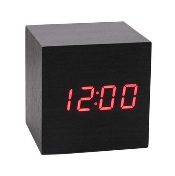 Relógio Ledclock Madeira Preto Ledclockvermelho