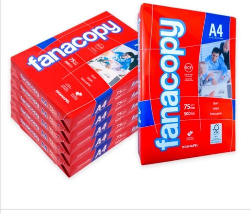 Resma Papel A4 Fanacopy. 75 Grs. 500 Hojas. Pack X 5. Oferta