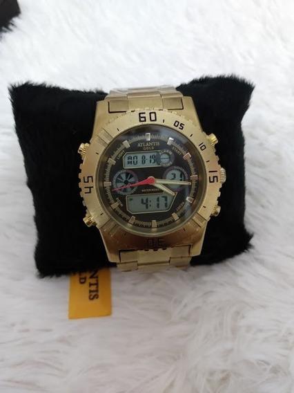 Relógio Original Atlantis Dourado Fundo Preto