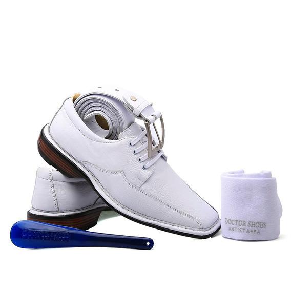 Kit Masculino Sapato 3026 Branco+cinto+meia+calçadeira Docto
