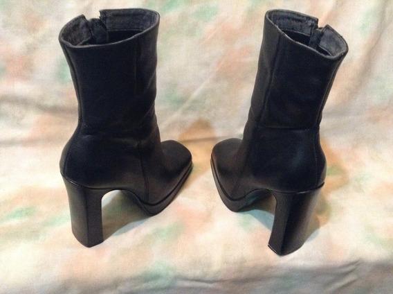 Botas Negras De Cuero Talle 35/ Usadas/ Exc. Estado