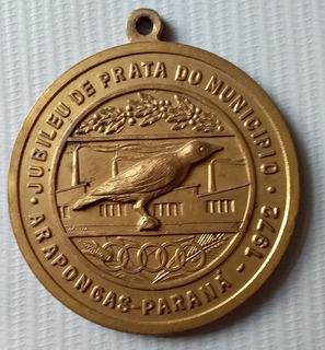 1972 Arapongas Paraná Medalha Jubileu Prata Ave Pássaro Judo