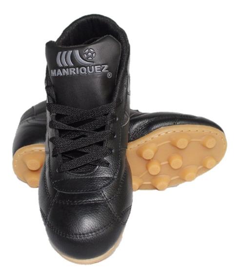 Zapatos De Fútbol Manriquez Botín Negro ¡envio Gratis!