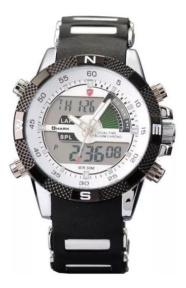 Relógio Masculino Shark Anadigi Sh-041 - Preto E Branco