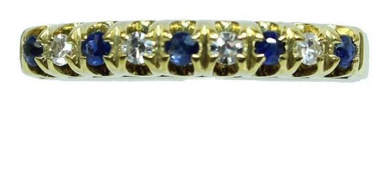 Pocao2005 Anel Ouro 18k Diamantes Safiras 12x S/j Ft/gt 1136
