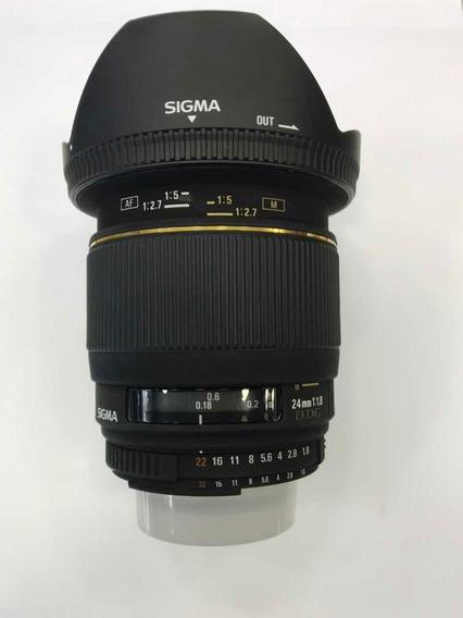 Obj. Sigma 24mm 1.8 Ex Dg P/ Nikon - Serve Para Full Frame