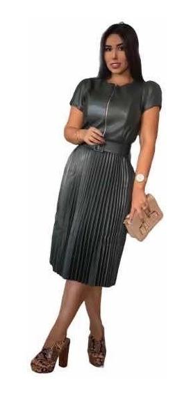 Vestido Midi Couro Fake Plissado Com Cinto Moda Evangélica