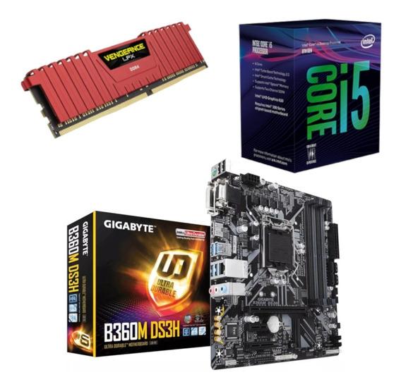 Kit Intel I5 8400 + Gigabyte B360m Ds3h + Vg 8gb 2400